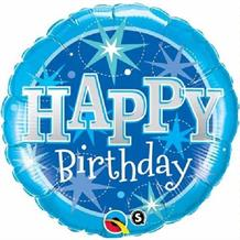 "Blue Sparkle Happy Birthday 18"" Foil 