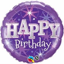"Purple Sparkle Happy Birthday 18"" Foil 