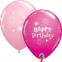 "Pink Sparkle Happy Birthday 11"" Qualatex Latex Party Balloons"