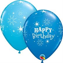 "Blue Sparkle Happy Birthday 11"" Qualatex Latex Party Balloons"