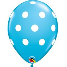 "Blue Big Polka Dots 11"" Qualatex Latex Party Balloons"