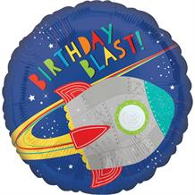 "Space Rocket Birthday Blast 18"" Foil Balloon"