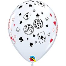 "Casino | Cards and Dice 11"" Qualatex Latex Party Balloons"