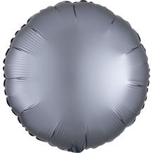 "Anagram Graphite | Grey Satin Luxe Unpackaged Plain Coloured Circle 18"" Foil 