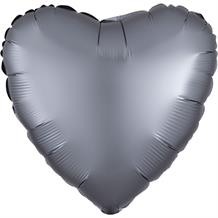 "Anagram Graphite | Grey Satin Luxe Unpackaged Plain Coloured Heart 18"" Foil 