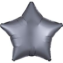 "Anagram Graphite | Grey Satin Luxe Unpackaged Plain Coloured Star 18"" Foil 