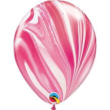 "Red and White Colours SuperAgate Marble 11"" Qualatex Decorator Latex Party Balloons"