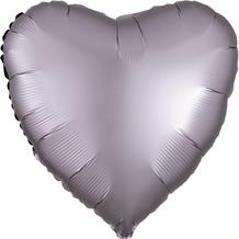 "Anagram Greige | Grey Satin Luxe Unpackaged Plain Coloured Heart 18"" Foil 