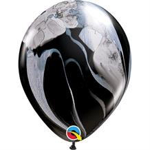 "Black and White Colours SuperAgate Marble 11"" Qualatex Decorator Latex Party Balloons"