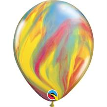 "Traditional | Primary Colours SuperAgate Marble 11"" Qualatex Decorator Latex Party Balloons"