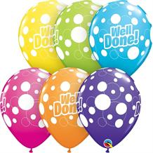 "Colourful Polka Dot Well Done 11"" Qualatex Latex Party Balloons"