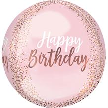 "Rose Gold Blush Pink Happy Birthday 15"" Sphere 