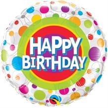 "Colourful Dots Happy Birthday to You 18"" Foil 