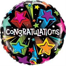 "Congratulations Multi-Coloured Shooting Stars 18"" Foil 