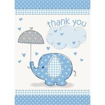 Blue Elephant Baby Shower Thank You Notes