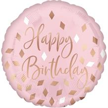 "Rose Gold Blush Pink Happy Birthday 18"" Foil 