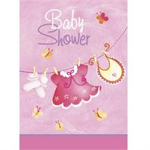 Pink Clothesline Baby Shower Party Invitations | Invites