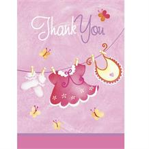 Pink Clothesline Baby Shower Party Thank You Notes