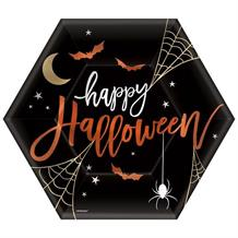 Happy Halloween | Spider Web Hexagon Party 23cm Party Plates