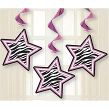 Zebra Passion Stars Party Hanging Swirls