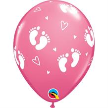"Pink Baby Footprints and Hearts | Baby Shower 11"" Qualatex Latex Party Balloons"