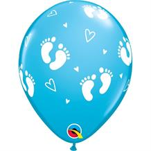 "Blue Baby Footprints and Hearts | Baby Shower 11"" Qualatex Latex Party Balloons"