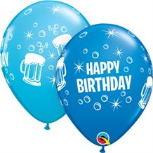 Blue Happy Birthday Beer Mugs Party Latex Balloons