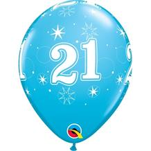 "Blue Sparkle 21st Birthday 11"" Qualatex Latex Party Balloons"