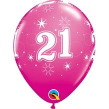 "Pink Sparkle 21st Birthday 11"" Qualatex Latex Party Balloons"