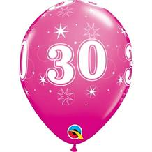 "Pink Sparkle 30th Birthday 11"" Qualatex Latex Party Balloons"