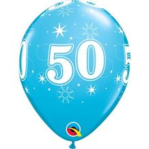 "Blue Sparkle 50th Birthday 11"" Qualatex Latex Party Balloons"