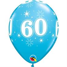 "Blue Sparkle 60th Birthday 11"" Qualatex Latex Party Balloons"
