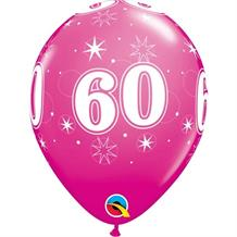 "Pink Sparkle 60th Birthday 11"" Qualatex Latex Party Balloons"