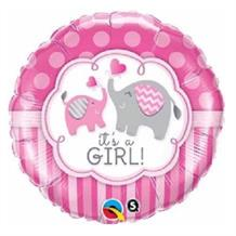 "It's a Girl Pink Elephants Baby Shower 18"" Foil 
