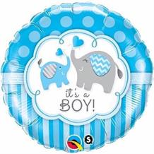 "It's a Boy Blue Elephants Baby Shower 18"" Foil 