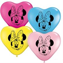 "Disney Minnie Mouse Heart Shaped 6"" Qualatex Latex Party Balloons"