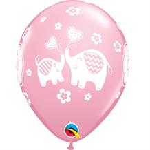 "It's a Girl Pink Elephant | Baby Shower 11"" Qualatex Latex Party Balloons"