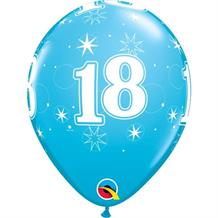 "Blue Sparkle 18th Birthday 11"" Qualatex Latex Party Balloons"