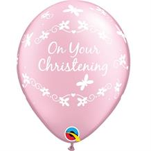"Baby Pink | Girl Christening Butterflies 11"" Qualatex Latex Party Balloons"