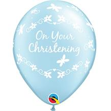 "Baby Blue | Boy Christening Butterflies 11"" Qualatex Latex Party Balloons"