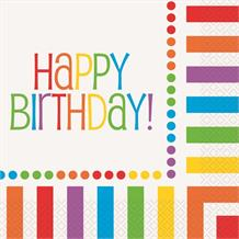 Rainbow Colourful Happy Birthday Party Napkins | Serviettes