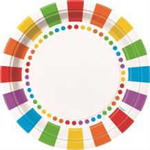 Rainbow Colourful 23cm Party Plates