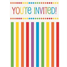 Rainbow Colourful Party Invitations | Invites