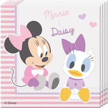 Minnie Mouse Baby Girl 33cm Party Paper Napkins | Serviettes | Tissues