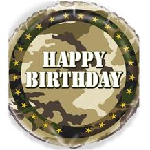 Military Camouflage Happy Birthday Foil Helium Balloon