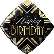 "Diamond Art Deco Happy Birthday 18"" Foil 