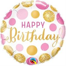 "Pink and Gold Dots Happy Birthday 18"" Foil 
