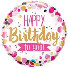 "Pink and Gold Spots Happy Birthday to You 18"" Foil 