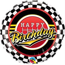 "Chequered Flag Racing Birthday 18"" Foil 