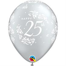 "Silver Wedding 25th Anniversary 11"" Qualatex Latex Party Balloons"